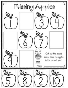 Apple Worksheet for Preschool Apple themed Math and Literacy Printables for Young Learners Numbers Preschool, Fall Preschool, Preschool Learning, Teaching, Kindergarten Math Worksheets, Kindergarten Activities, Preschool Printables Free Worksheets, Kindergarten Apples, Tracing Worksheets