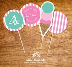 Pink Icecream Party Theme Cupcake Toppers (Personalised DIY Printables). $5.95, via Etsy.