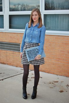 Chambray shirt, houndstooth skirt and denim city clutch!