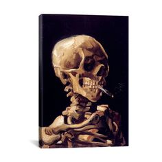 """Skull with Cigarette 1885 by Vincent van Gogh // Canvas (Small: 18""""L x 26""""H)"""