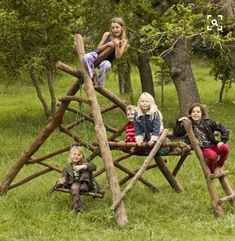 natural wooden jungle gym with swings. we should put something like this together at the campground for the kiddos: natural wooden jungle gym with swings. we should put something like this together at the campground for the kiddos: Kids Outdoor Play, Outdoor Play Spaces, Kids Play Area, Backyard For Kids, Backyard Ideas, Backyard Seating, Indoor Play, Backyard Landscaping, Childrens Play Area Garden
