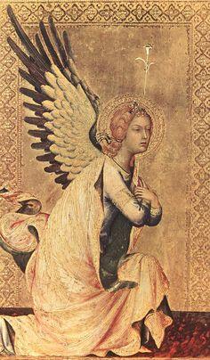 SIMONE MARTINI The Angel of the Annunciation  1333 Tempera on wood, 23,5 x 14,5 cm Koninklijk Museum voor Schone Kunsten, Antwerp