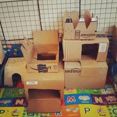Project Bunday: I made a cardboard box castle for the bunnies!! #princessbunny #princebunny http://ift.tt/1SnFI1n