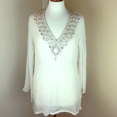 Crystal White Beach Cover Up Tunic Beautiful in White and dripping with Crystal rhinestones/100% Rayon/Crystals all around collar and edges of sleeves/Brand new with tagsPrice Firm Boston Proper Swim Coverups