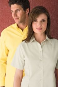 Promotional Products Ideas That Work: LADIES' SHORT SLEEVE TWILL SHIRT. Get yours at www.luscangroup.com