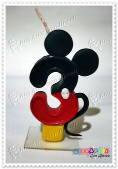Vela de parafina personalizada Mickey Cakes, Mickey Mouse Cake, Mickey Mouse Birthday, Clay Art For Kids, Fondant Numbers, Cake Lettering, Number Cake Toppers, Happy Birthday Candles, Mickey Party