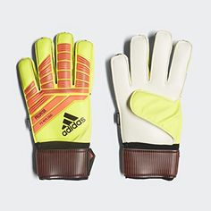 1b85c0c02a7c adidas F1806GL014 Predator Fingersaver Replique Soccer Gloves, Solar Yellow/Solar  Red/Black, Size 7