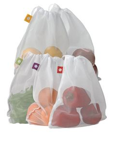 """Bring these lightweight mesh bags to the grocery store or farmer's market and fill them with fresh peas, salad greens, peppers, beans and more, saving plastic and paper bags. When you get home, pop the produce right into the vegetable crisper — the mesh bag """"breathes,"""" preventing moisture buildup and extending shelf life."""