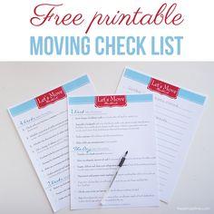Free printable moving check list