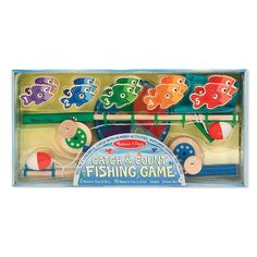 Buy Melissa & Doug: Catch & Count Magnetic Fishing Rod Set at Mighty Ape NZ. Catch some laughs and learning with this wooden magnetic play set–complete with working wind-up reel! The 10 magnetic fish are numbered and patterned . Counting Activities, Craft Activities, Developmental Toys, Melissa & Doug, Camping, Matching Games, Toddler Preschool, Toddler Toys, Preschool Learning