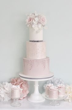 Lilac and blush sparkle wedding cake by Wish Upon a Cupcake