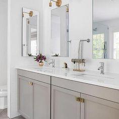Gray Bathroom Vanity with Gray Herringbone Tiles