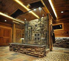 Bathroom , Bathroom Walk In Shower Designs : Rustic Shone Walk In Shower Designs