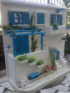 Miniature Rooms, Miniature Crafts, Miniature Houses, Miniature Furniture, Dollhouse Furniture, Clay Fairy House, Fairy Houses, Greece House, Pottery Houses
