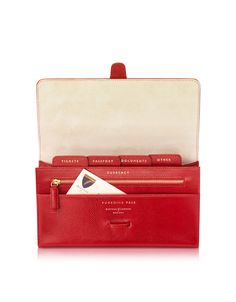 Aspinal of London Red Lizard and Suede Classic Travel Wallet at FORZIERI