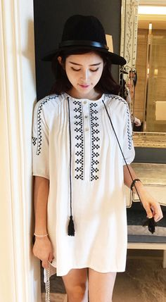 Fashiontroy  Hipster & indie mid sleeves crew neck white two-tone embroidered cotton mini dress