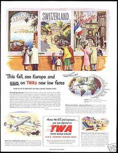 Vintage ad for TWA