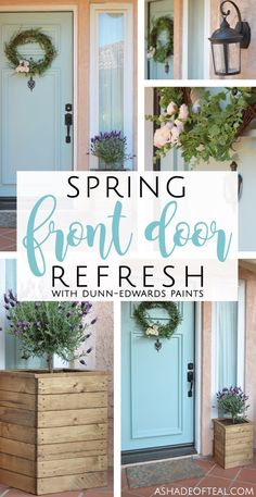 Spring Front Door and porch refresh with @dunnedwards. Loving my new Aqua front door! #DunnEdwards #DELiveColorfully #ad