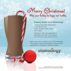 Delicious Candy Cane Shakeology! I love the taste of peppermint and chocolate. I put a wee bit more candy cane in mine since I love the cool flavor.   Re-pin and Share the Deliciousness  Get your Shakeology for this Recipe here: http://santofitlife.com/shakeology/