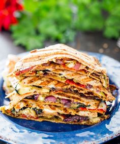 Grilled Vegetable Quesadillas:   A good quesadilla is comfort food at its best, and these robust vegetarian beauties are full of fresh mozzarella, pesto and grilled vegetables. Pro tip: Grill the vegetables first and then use a panini press or skillet to warm the quesadillas.