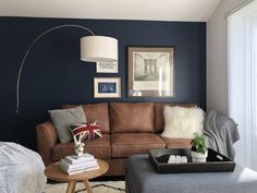 Garage conversion to guest, leisure, study and music room. Dark blue/navy featur… – 2019 - Sofa ideas Garage conversion to guest leisure study and music room. Blue Feature Wall Living Room, Dark Blue Living Room, Beige Living Rooms, Living Room Sofa, Dark Blue Lounge, Dark Blue Feature Wall, Brown Leather Sofa Living Room, Snug Room, Lounge Decor