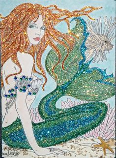 By Diana Martin Studio - Mermaid Royalty and Lion Fish Fantasy Mermaids, Mermaids And Mermen, Real Mermaids, Mermaid Fairy, Mermaid Tale, Mythical Creatures, Sea Creatures, Mermaid Artwork, Mermaid Paintings