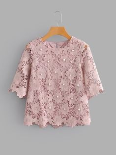 Casual Top Regular Fit Round Neck Short Sleeve Pullovers Pink Regular Length Pearl Beaded Guipure Lace Blouse Source by Blouses Cute Blouses, Blouses For Women, Crop Top Outfits, Casual Outfits, Girls Fashion Clothes, Fashion Outfits, Batik Fashion, Blouse Outfit, Mode Style