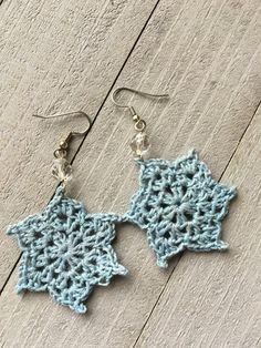Crocheted Ear Doily Earrings in Grey/Blue by LindsayStreemDesigns