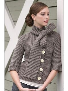 The designer wanted to create a fashionable garment that's easy enough for a beginner crocheter to make. The built-in scarf extends from the collar of the jacket and can be flung around your neck like a traditional scarf or tied in a bow. The jacket it