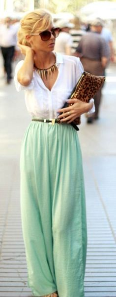 S/S street style / maxi & shirt for work.