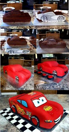 Disney Cars Birthday Cake - Awesome Birthday Cakes For Boys on Pretty My Party Disney Cars Birthday, Cars Birthday Parties, Car Birthday, Sons Birthday, Third Birthday, Gateau Flash Mcqueen, Lightning Mcqueen Cake, Lightening Mcqueen, Lightning Mcqueen Birthday Cake
