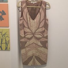 Mark and James Beaded Silk Cocktail Dress Like new. Silk dress, full crepe lining. Sequin and bead detail in perfect condition. Side zip under left arm. Amazing occasion dress for any season. Badgley Mischka Dresses Midi
