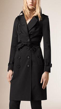 Preto Trench coat de cetim de algodão - Imagem 1
