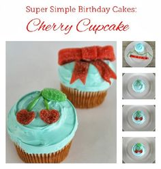 Super Simple Birthday Cakes: Cherry Cupcake Tutorial. Easy diy cake decorating ideas @ www.lovethatparty.com.au
