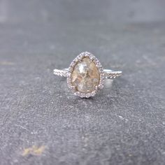 RESERVED Grey Diamond Engagement Ring Light Grey Pear by JewelLUXE