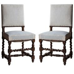 Delightful pair of early 20th century French side chairs with barley twist and bobbin stretchers.