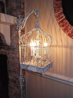 Upcycled Antique Birdcage Chandelier Lamp