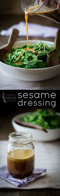 Sesame Dressing - Healthy Seasonal Recipes. Some tips about how food photography should be a little bit more like Jaws and this hella yummy vegan and gluten-free Asian inspired salad dressing.