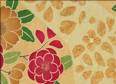 "Silk Kimono ""Red and Yellow Camellia flowers""    http://www.kesarankimonofabric.com/"