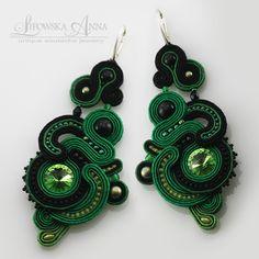 691  Anna Lipowska LiAnna Biżuteria sutasz   soutache  www.lianna.blox.pl Soutache Earrings, Drop Earrings, Jewellery Earrings, Ribbon Art, Shibori, Jewerly, Polymer Clay, Beads, Diy Ideas