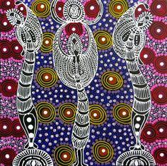 Australian Aboriginal Art Paintings  Artist: Colleen Wallace Nungarai  Title: Dreamtime Sisters