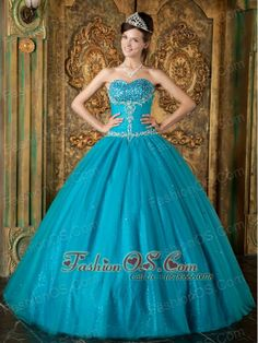 Brand New Teal Sweet 16 Dress Sweetheart  Beading Tulle A-Line / Princess  http://www.fashionos.com  Blue evening dress is full of mystery that attracts others' attention when you go out for the evening. The dress is designed with a strapless sweetheart neckline on the heavily beaded bodice. The amazing A-line skirt is reminiscent of the old fashioned hoop skirts and is made from sequince fabric under the tulle overlay which add another dimension of beauty.