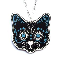 Sugar Skull Style Black Cat Necklace by Dolly Cool by DollyCool, $12.00 One of my favourite necklaces I own :)