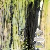 "Stoney 2 - 8"" X 8"" Encaustic on Board, with collage"
