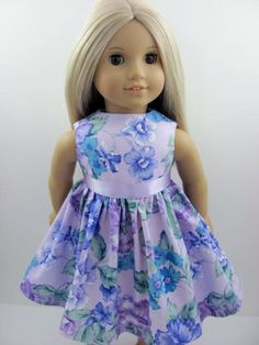 Lavender Floral Dress and Sash for the American Girl Doll from The Whimsical Doll 2