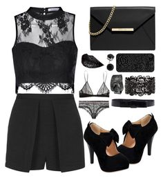 """""""◆All in Black Challenge ◆"""" by xxbettyxx ❤ liked on Polyvore featuring MICHAEL Michael Kors, Glamorous, Yves Saint Laurent, Topshop, Leatherock, Lanvin and allinblack"""