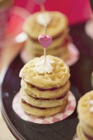 M <3 party food! mini waffles- love the stacks with jam between each one!