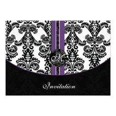 damask purple wedding invitation