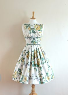 Cream English Rose Print Prom Dress Made to by digforvictory, £109.00