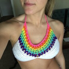 Crochet Rainbow Halter Top ~Your size and Rainbow Colors Music Festival Crop Top, Yoga or Belly Dance Bra Crochet Crop Top, Crochet Bikini, Crochet Designs, Crochet Patterns, Crochet Stitches, Knit Crochet, Crochet Phone Cover, Belly Dance Bra, Festival Crop Tops